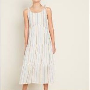 Old Navy cream striped cotton tiered maxi dress